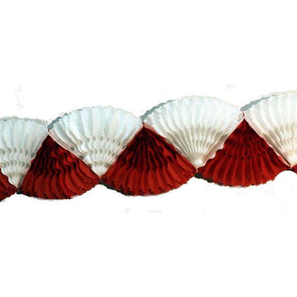 Guirnalda de doble abanico de papel en rojo y blanco -