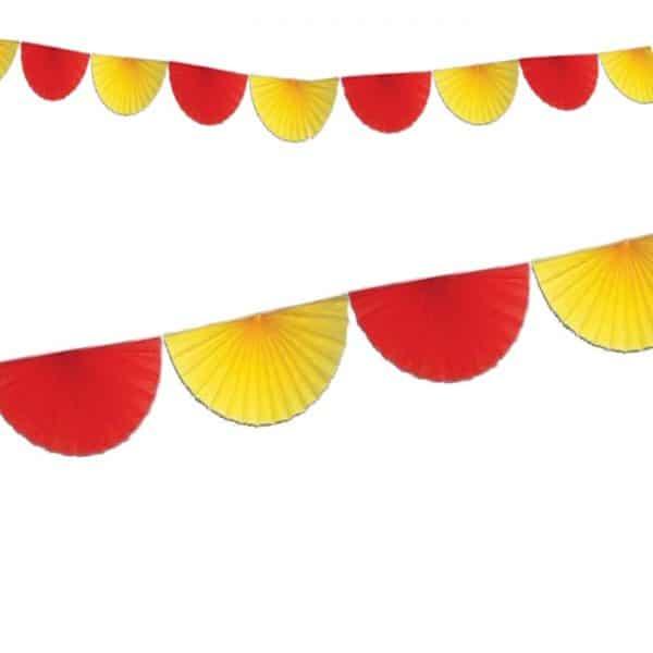 Guirnalda de 8 abanicos de papel en colores rojo y amarillo - Abanicos