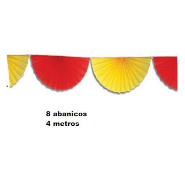 Guirnalda de 8 abanicos de papel en colores rojo y amarillo -