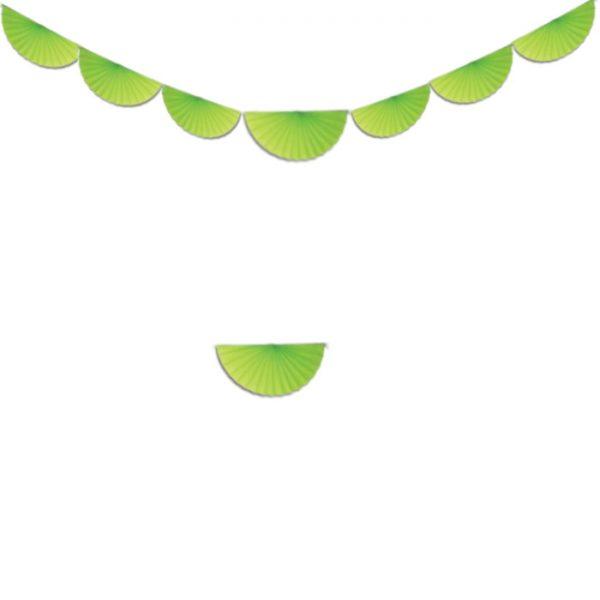 Guirnalda de 8 abanicos de papel color verde manzana. - Fiesta Saint Patrick