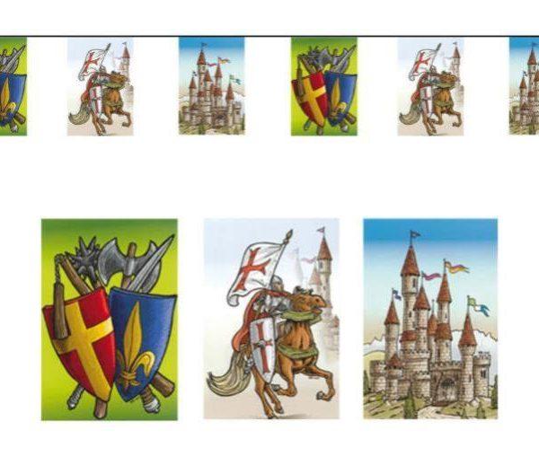 Guirnalda de 8 banderines de la edad media. - Fiesta medieval