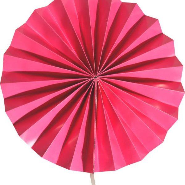 Abanico de papel de color rosa de 30 cm -