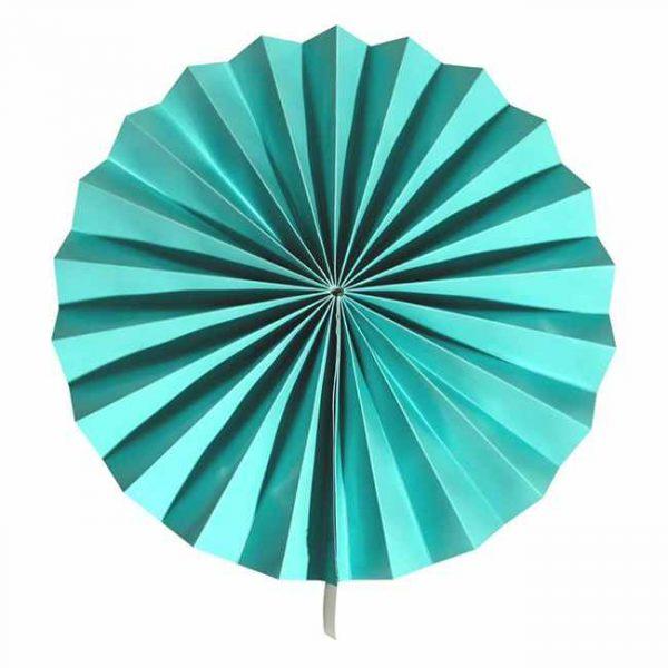 Abanico de papel de color verde marino de 30 cm -
