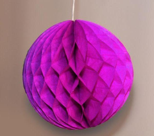 Bola de papel de 15 cm en panal de abeja fucsia -