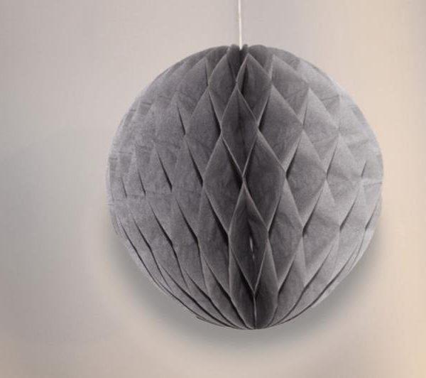 Bola de papel de 15 cm en panal de abeja gris - Bodas de plata