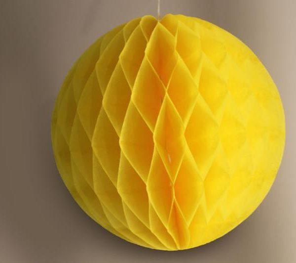 Bola de papel de 15 cm en panal de abeja amarilla -