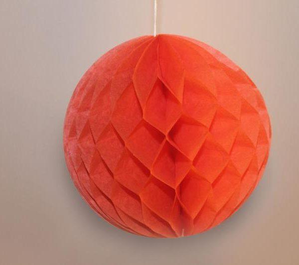 Bola de papel de 15 cm en panal de abeja naranja - Bolas de papel