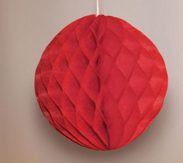 Bola de papel de 15 cm en panal de abeja  color rojo - Fiesta Feria de Abril