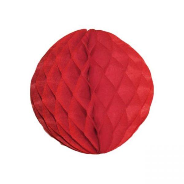 Bola de papel de 15 cm en panal de abeja  color rojo -