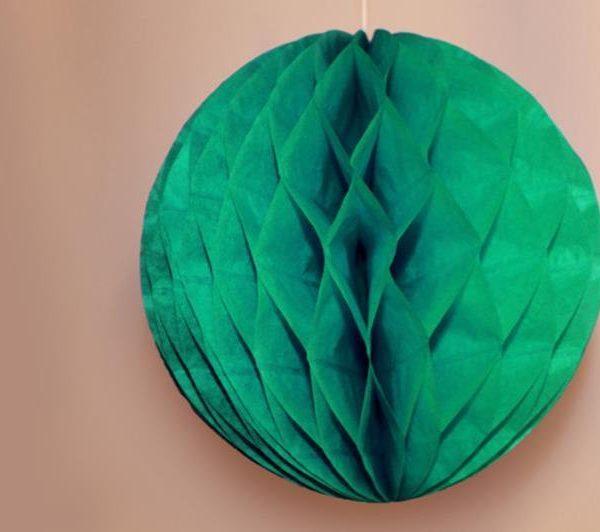 Bola de papel de 15 cm en panal de abeja color verde jade - Bolas de papel