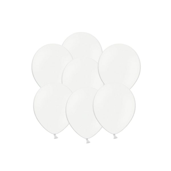 100 Globos pastel color BLANCO -