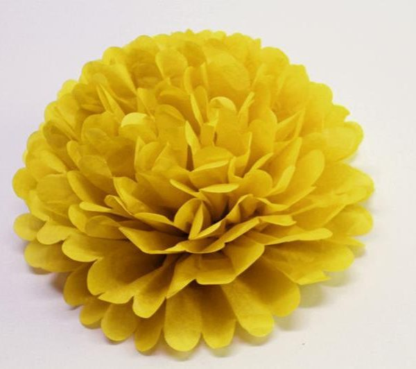 Flor de papel seda de 30 cm color amarillo -