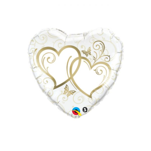 """Globo San Valentín microfoil 'corazón oro' de 36"""" - Bodas de Oro"""
