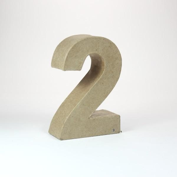 Numero 2  de 10 cm en cartón -