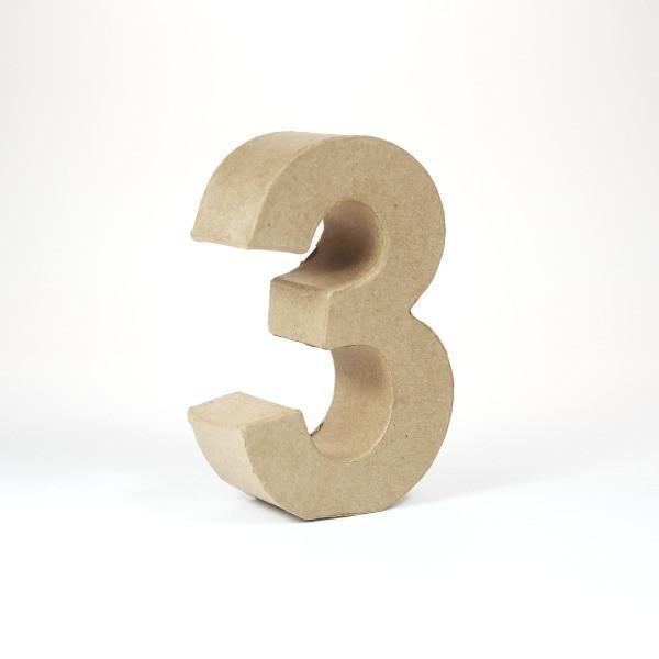 Numero 3 en cartón de 10 cm -