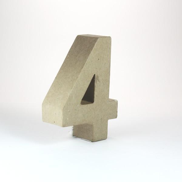 Numero 4 en cartón de 10 cm -