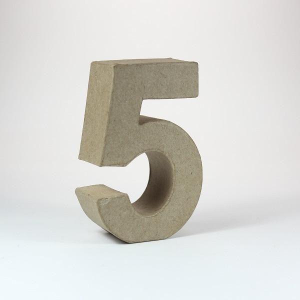 Numero 5 en cartón de 18 cm -