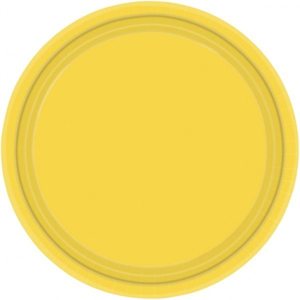 Plato de cartón color AMARILLO de 23cm -