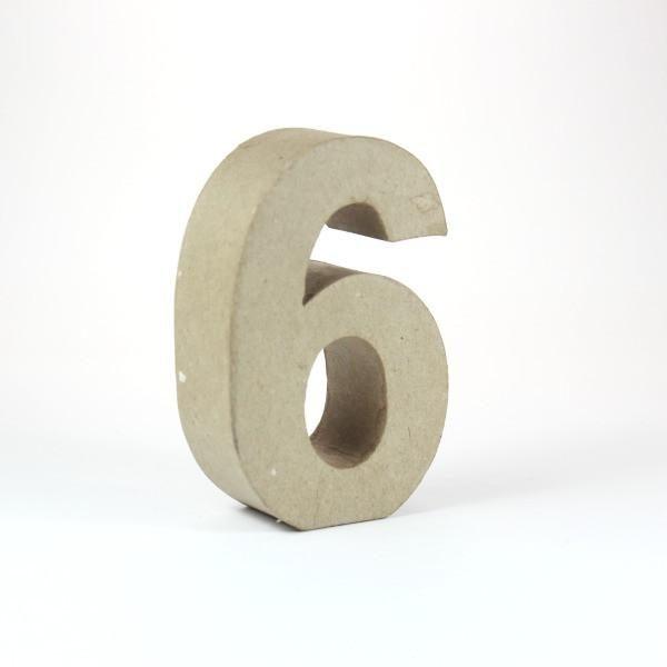 Numero 6 en cartón de 18 cm -