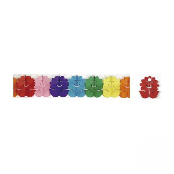 Guirnalda de papel flores multicolor de 4mts -
