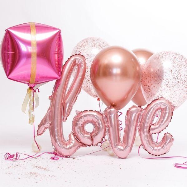 "Globo San Valentín microfoil, tamaño XL de 119 cm, ""love"" color rosa de 47"" -"