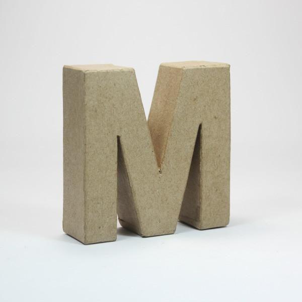 Letra M de 18 cm de cartón -