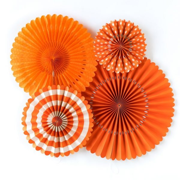 Abanicos de papel BASIC ORANGE FAN - Fiesta astronautas
