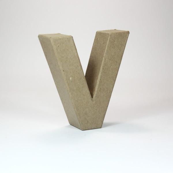 Letra V de 18 cm de cartón -