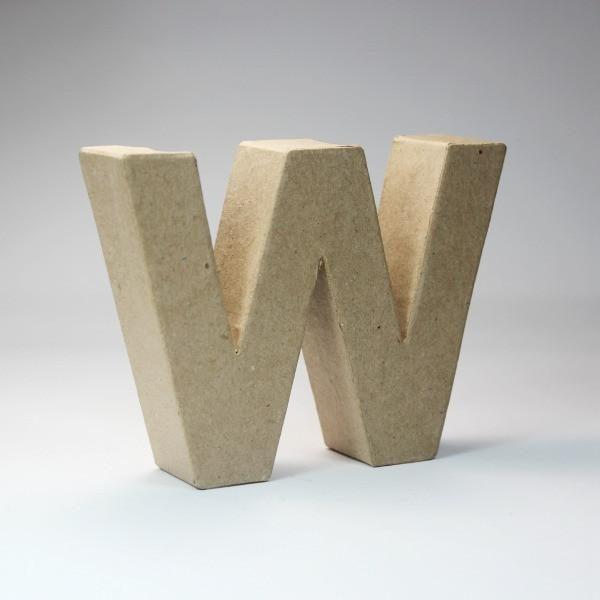 Letra W de 18 cm de cartón -