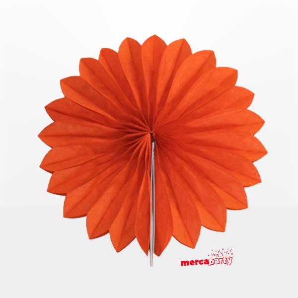 Abanico alveolado de papel color Naranja de 15cm -