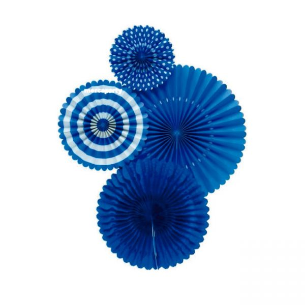 Abanicos de papel BASIC BLUE FAN - Fiesta superhéroes