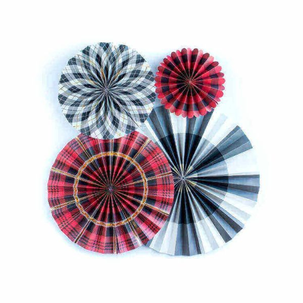 Abanicos de papel PLAID PARTY FANS -
