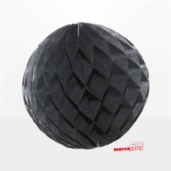 Bola de papel de 15 cm en panal de abeja  negra -
