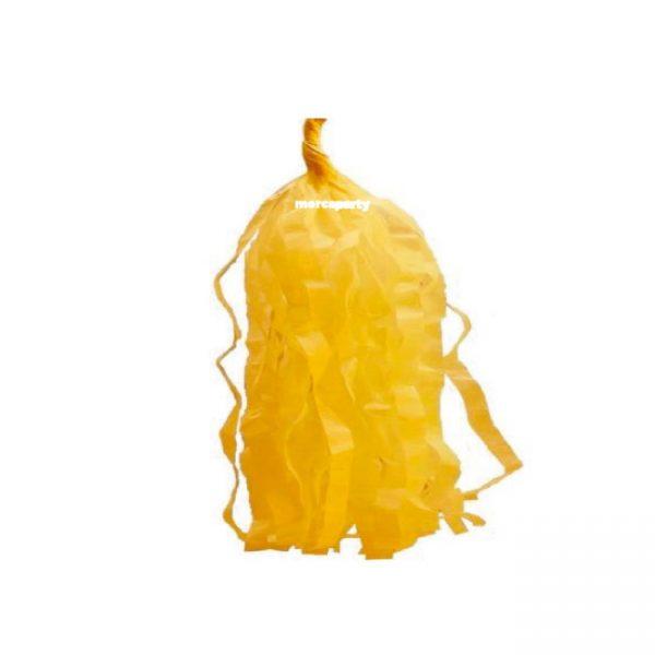 5 Borlas de papel en color amarillo pálido -