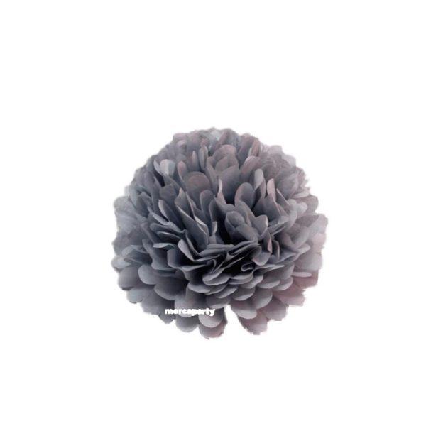 Flor de papel seda de 30 cm color gris -