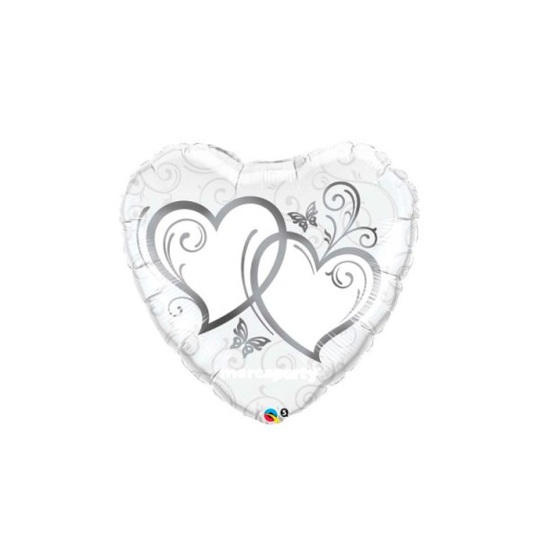 """Globo San Valentín microfoil """"corazón plata"""" de 36"""" - Bodas de plata"""