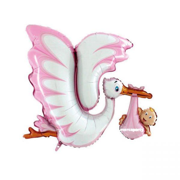 Babyshower niña globo gigante microfoil cigüeña niña color rosa de 53'' -