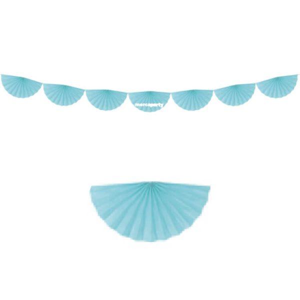 Guirnalda de 8 abanicos de papel color azul -