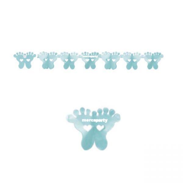 Guirnalda papel pies color AZUL CELESTE -