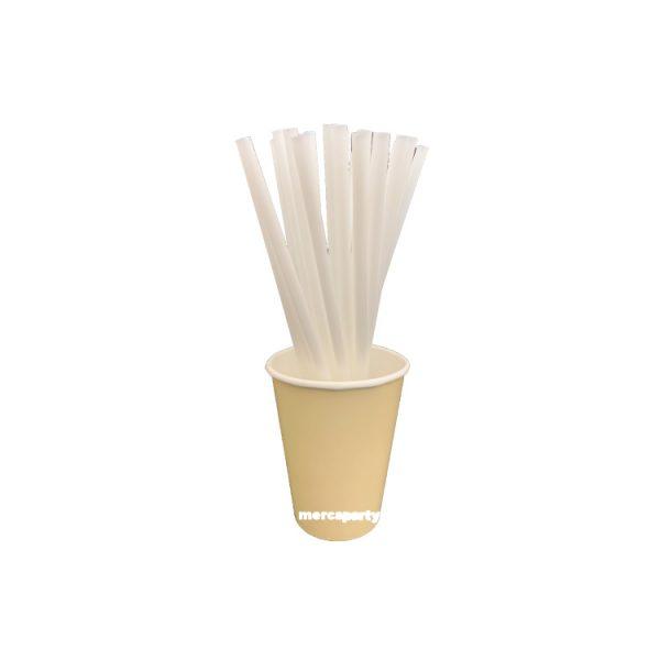 Pajitas PLA rígidas color blanco de 21cm -