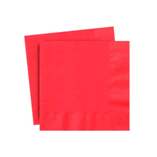 Servilletas papel color ROJO de 33x33 cm - Fiesta superhéroes