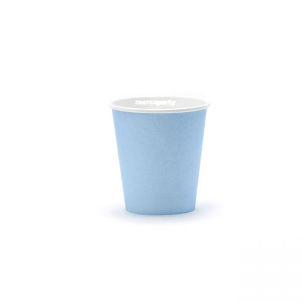 Vaso de carton color AZUL PASTEL de 266ml - Fiesta superhéroes