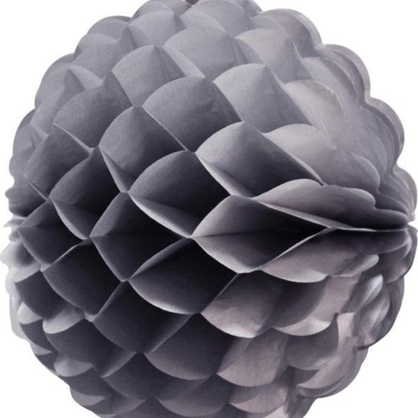 Bola de papel de 25 cm en panal de abeja color gris - Bodas de plata