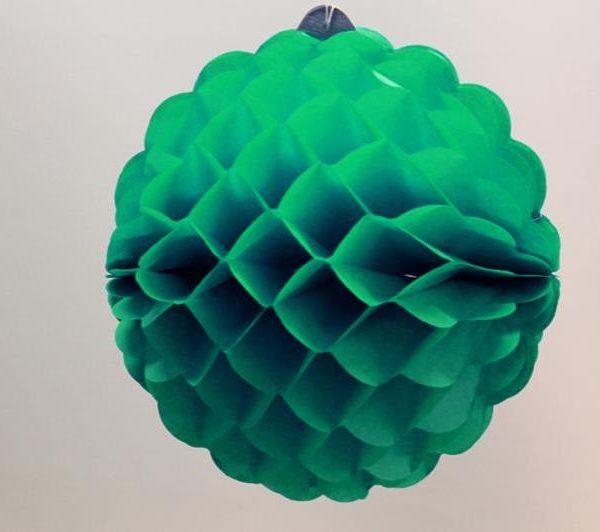 Bola de papel de 25 cm en panal de abeja color Verde jade - Fiesta dinosaurios
