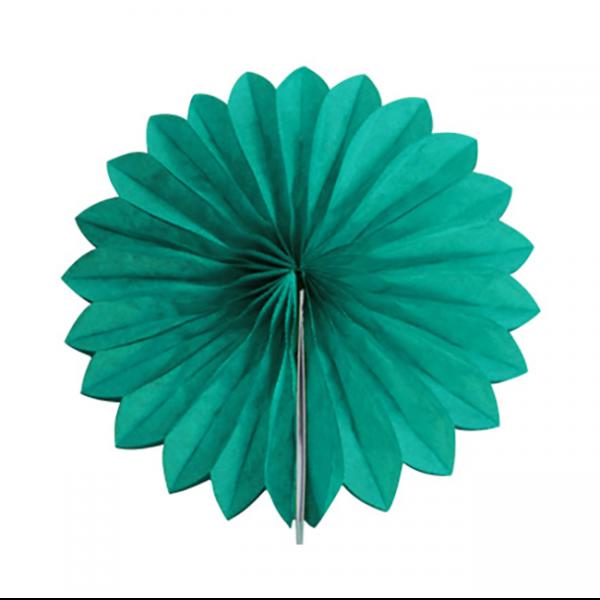 Abanico alveolado de papel color Verde jade de 15cm - Fiesta Saint Patrick