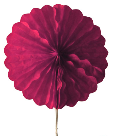 Abanico 25 cm de papel  alveolado color burdeos -