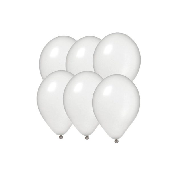 100 Globos metalizados color BLANCO -