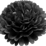 Flor de papel seda de 20 cm color negro -
