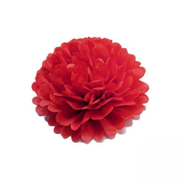 Flor de papel seda de 30 cm color rojo -