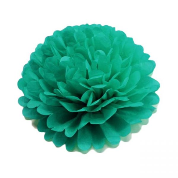 Flor de papel seda de 30 cm color verde jade - Fiesta Saint Patrick